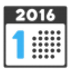 first 2016 day halftone icon vector image