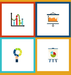 flat icon graph set of diagram easel chart and vector image