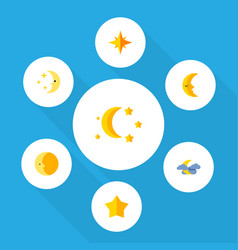 Flat icon midnight set of moon bedtime asterisk vector