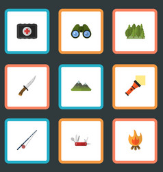 flat icons fist aid fishing wood and other vector image