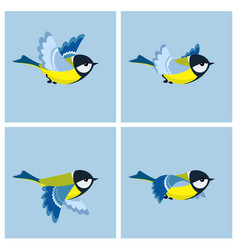 flying great tit animation sprite sheet vector image