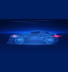 Futuristic sport car neon concept glowing vector