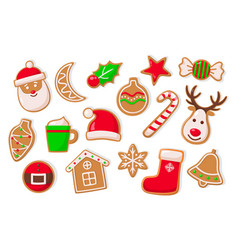 gingerbread man and baubles ball and stars set vector image