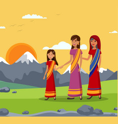 girl with mom and gran indian family vector image