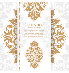 Gold vintage greeting card on a white background vector