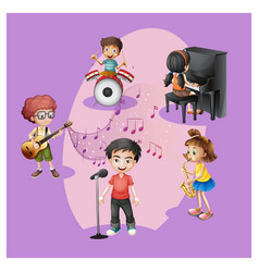 group children with their musical instrument vector image