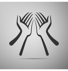 Hand flat icon on grey background vector image