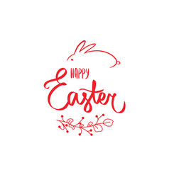 happy easter text holiday invitation red sign vector image