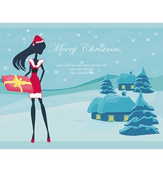Happy New year card with Santa girl and winter vector image