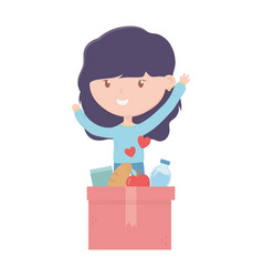 happy young woman with filled box food charity vector image