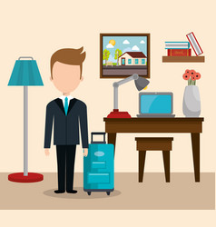 Hotel consierge working avatar character vector