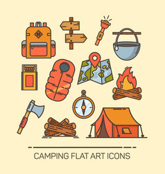 Icons for summer camping tent compass life vest vector