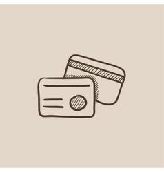Identification card sketch icon vector image