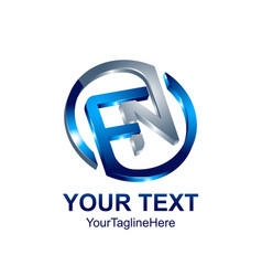 initial letter fn logo template colored blue vector image