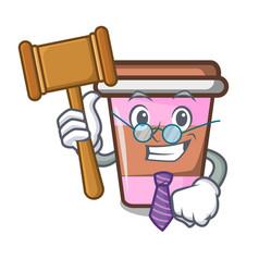 Judge coffee cup mascot cartoon vector