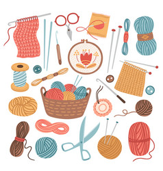 knitting threads knit sewing wool yarn balls vector image