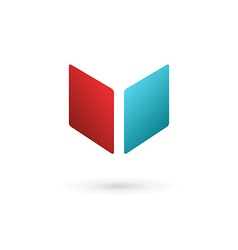Letter V book cube logo icon design template vector