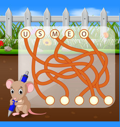 Logic puzzle game for study english with mouse vector