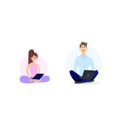 man and woman with laptop meditating in the office vector image