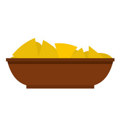 Mexican nachos in brown bowl icon isolated vector