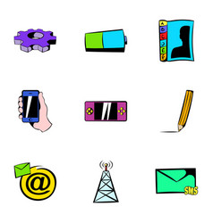 mobile tower icons set cartoon style vector image