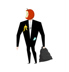 Mr trash from garbage bag boss apple core litter vector