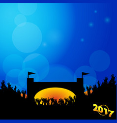 Music festival background 2017 with stage and vector
