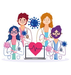 Online health staff female and male doctors with vector