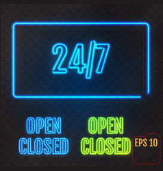 open closed 247 hours neon light on transparent vector image
