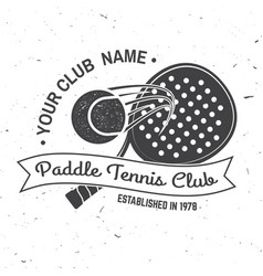 Paddle tennis sport club badge emblem or sign vector