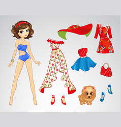 Paper Brunette Retro Doll vector