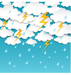 Paper cut rainy sky storm background rain season vector