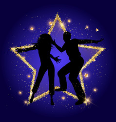 party couple on a glittery gold star background vector image