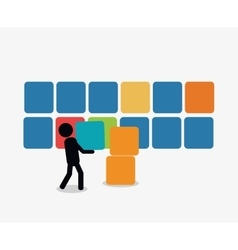 Person with workforce related icons image vector