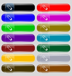 Pushpin icon sign Set from fourteen multi-colored vector