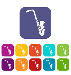 Saxophone icons set vector