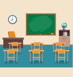 School classroom with chalkboard and desks vector