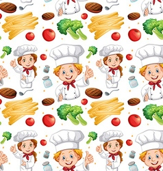 Seamless chef and different ingredients vector