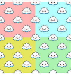 seamless pattern set with clouds cute vector image