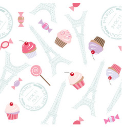 Seamless pattern with eiffel tower and cupcakes vector