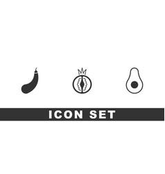 Set eggplant tomato and avocado fruit icon vector