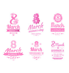Set of 8 march greeting card international holiday vector