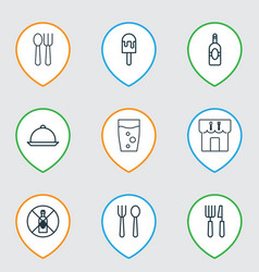 Set of 9 cafe icons includes dining eating house vector
