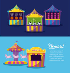 set of circus tents with games with ticket sale vector image