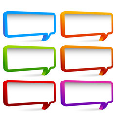 Set of colorful rectangular speech bubbles with vector