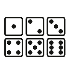 Set of dice line icon on white background six vector
