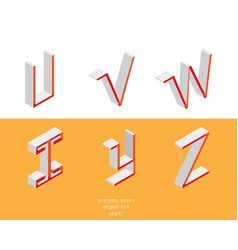set of isometry letters u v w x y z font vector image