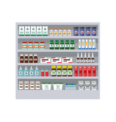 Shelves with different medicines in pharmacy card vector