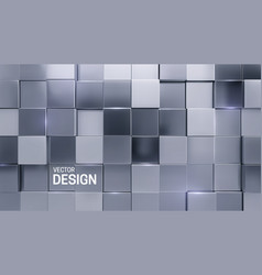 Silver mosaic background random cubes backdrop vector