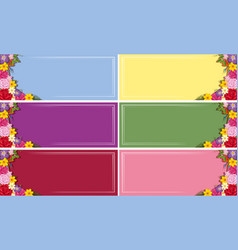 six banner templates with colorful flowers vector image